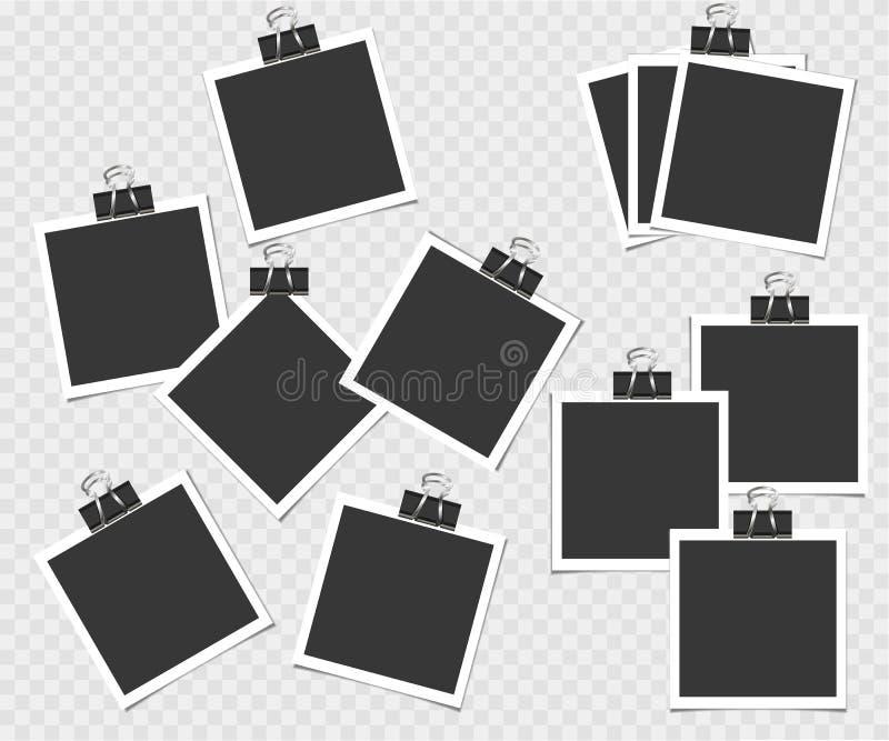 Polaroid, kolekcja fotografii rama z szpilką Wektorowy szablon dla twój modnego wizerunku lub fotografii royalty ilustracja