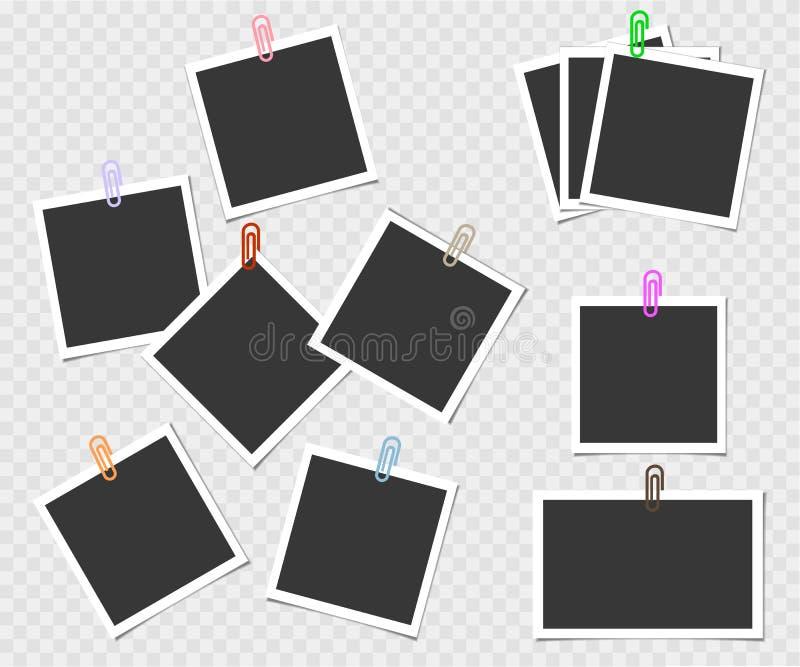Polaroid, kolekcja fotografii rama z szpilką Wektorowy szablon dla twój modnego wizerunku lub fotografii ilustracji