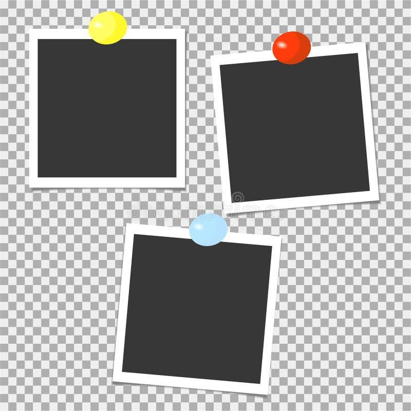 Polaroid kolekcja fotografii ramy z kolor szpilkami szablon również zwrócić corel ilustracji wektora royalty ilustracja