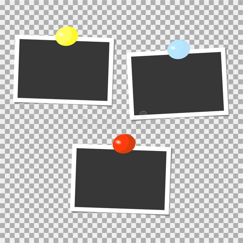 Polaroid kolekcja fotografii ramy z kolor szpilkami szablon również zwrócić corel ilustracji wektora ilustracja wektor