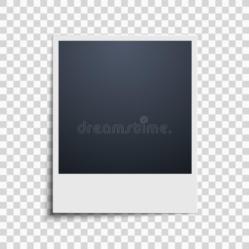Polaroid na przejrzystym tle tła piękny czerń ramy dziury kpugloe deseniował fotografię wektor ilustracja wektor