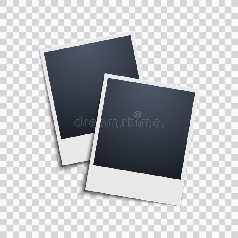 Polaroid na przejrzystym tle zdjęcie wrabia 2 wektor ilustracji