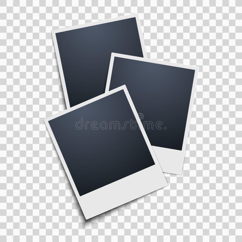 Polaroid na przejrzystym tle zdjęcie wrabia 3 wektor ilustracji
