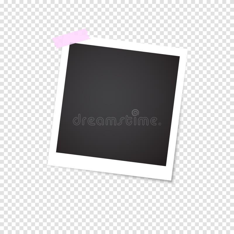 Photo frame with shadow on a transparent background. Retro design. Hello Summer vector illustration. Polaroid frame. stock illustration