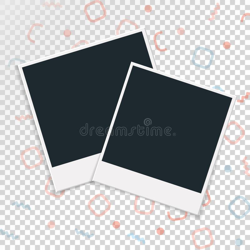 Polaroid photo frame on a transparent background. Vector illustration stock illustration