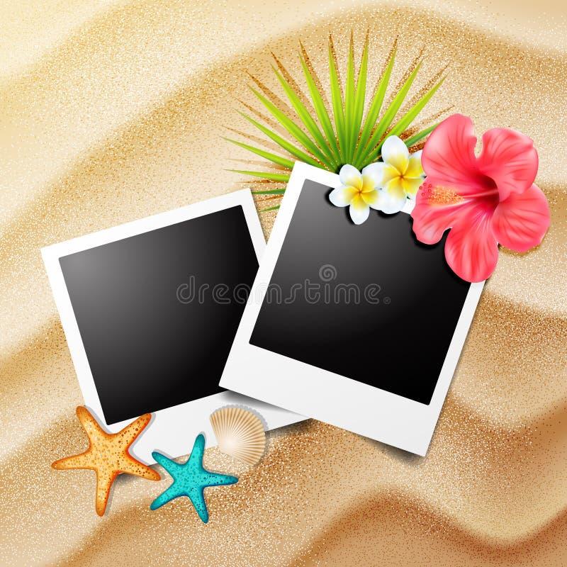 Polaroid- ram på sand med strandbeståndsdelar vektor royaltyfri illustrationer