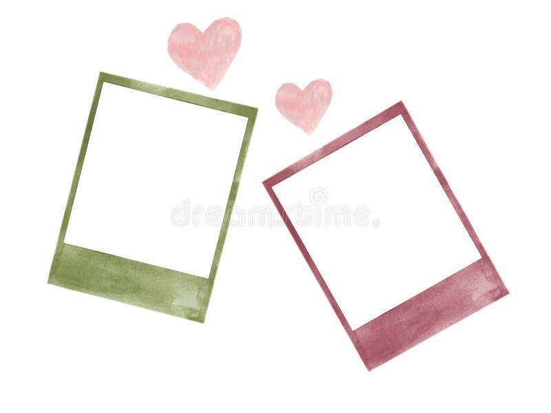 Polaroid rama z kierową miłości akwarelą odizolowywającą ilustracji