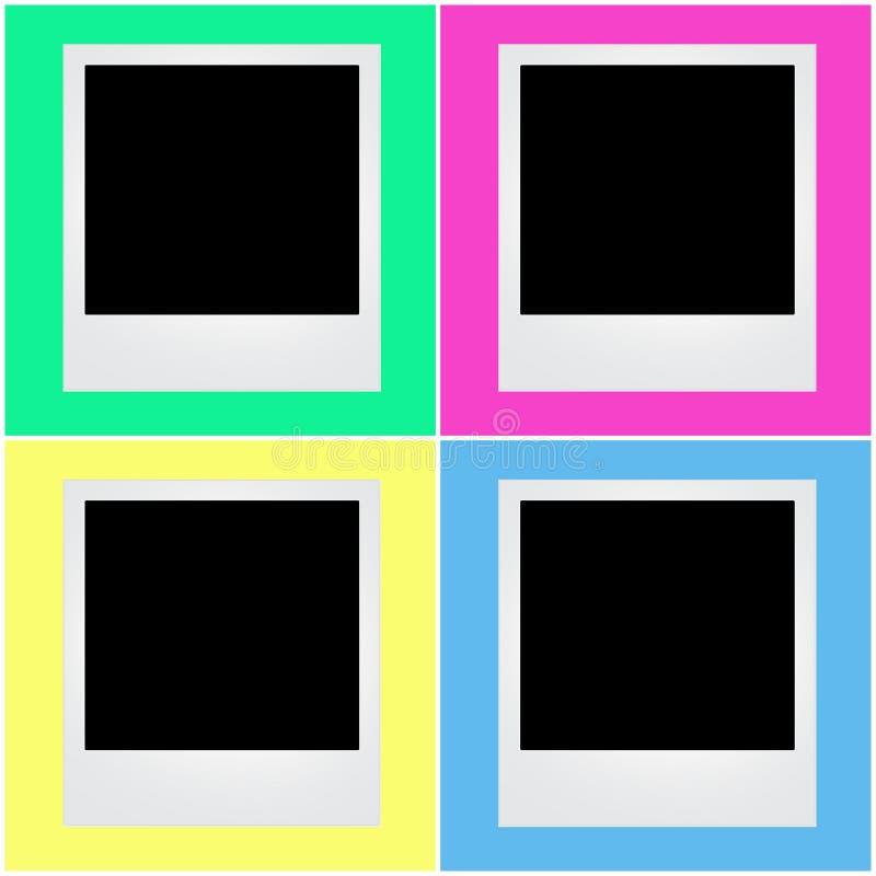 polaroid rama z kolorowym tłem ilustracja wektor