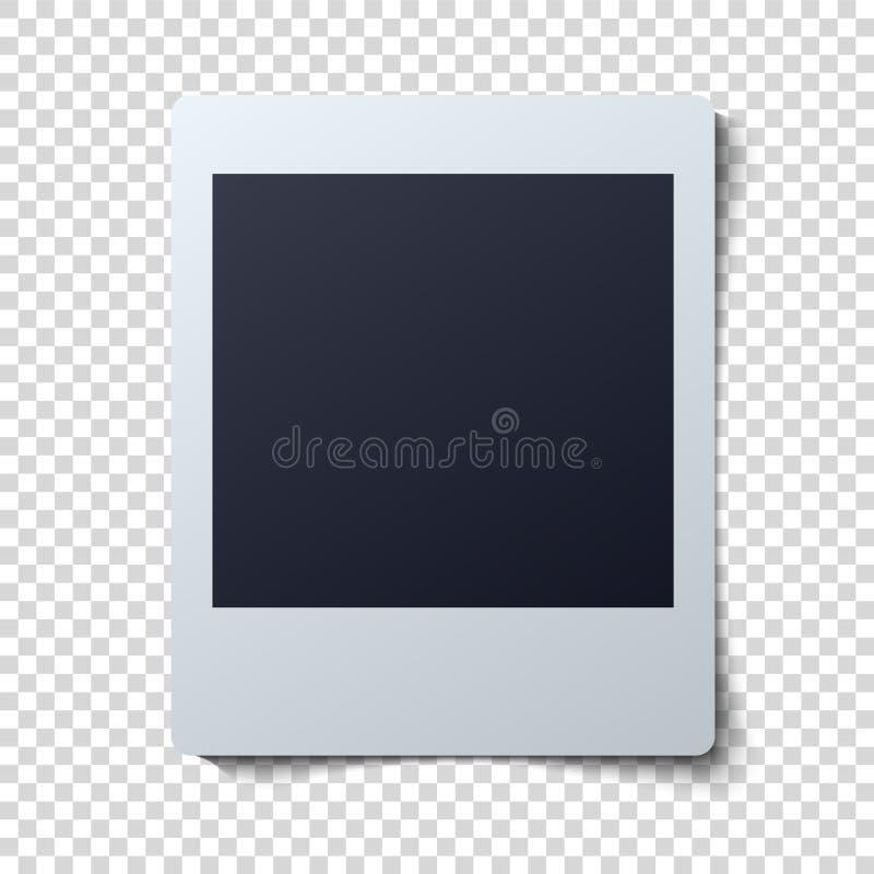 Polaroid ramowa wektorowa ilustracja Pojedyncza natychmiastowa fotografia z czerni przestrzenią dla wizerunku ilustracja wektor