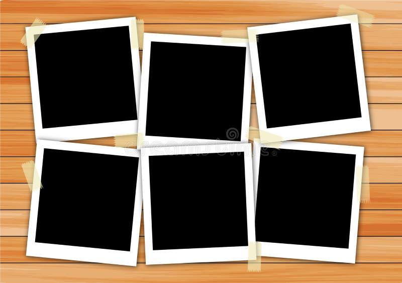 Polaroid ramy obrazek na drewnie royalty ilustracja