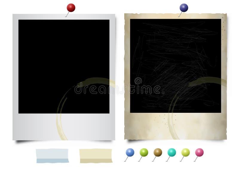 Polaroid stare i nowe fotografie royalty ilustracja