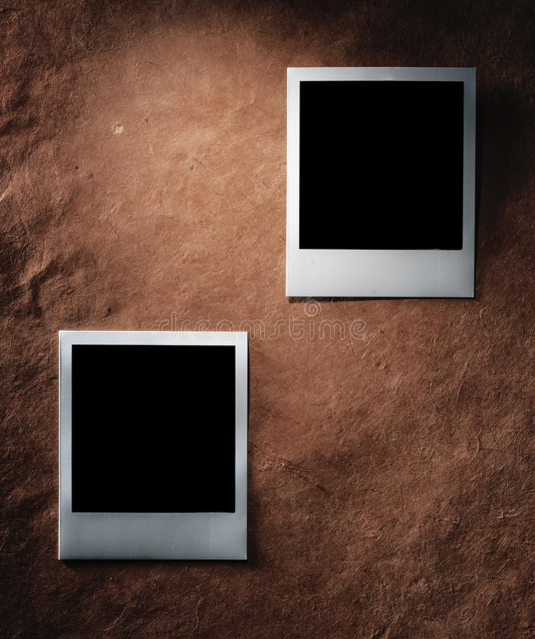 Polaroid Style Photo Frames On Vintage Paper Stock Image - Image of ...
