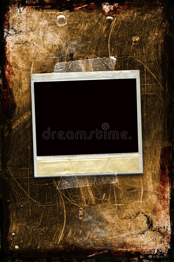 A polaroid taped to a grungy background. With room for text and your own photo