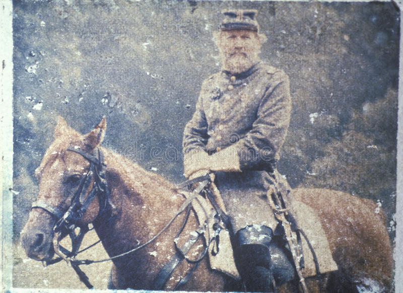 Polaroid Transfer of soldier on horseback during Civil War reenactment of Battle of Bull run royalty free stock photos