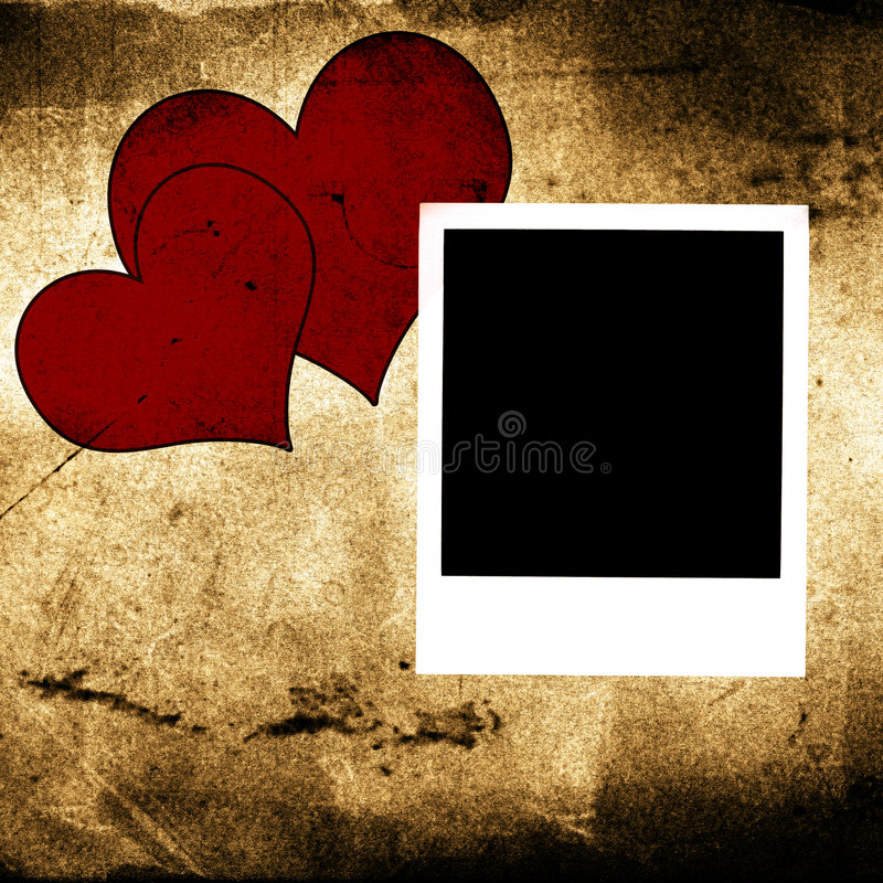 Polaroid And Two Hearts Royalty Free Stock Images