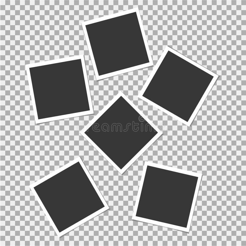 Polaroid Ustawiający fotografii rama Wektorowy szablon dla twój modnego wizerunku lub fotografii ilustracji