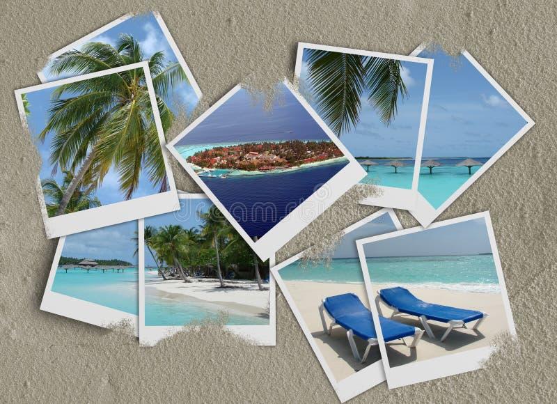 Polaroidcollage auf Sand lizenzfreie abbildung