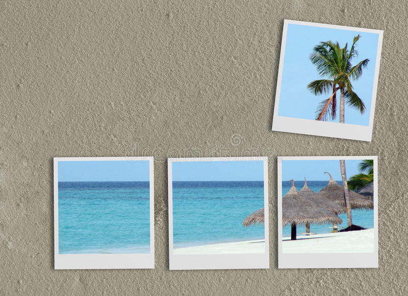 Polaroidcollage auf Sand vektor abbildung