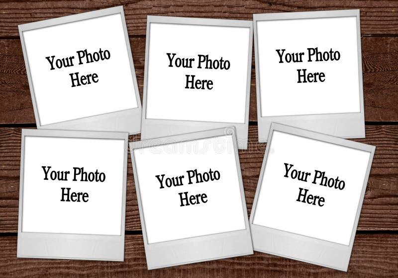 Polaroide auf Planken lizenzfreies stockbild