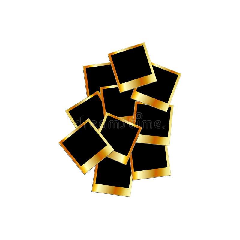 Polaroides del oro ilustración del vector