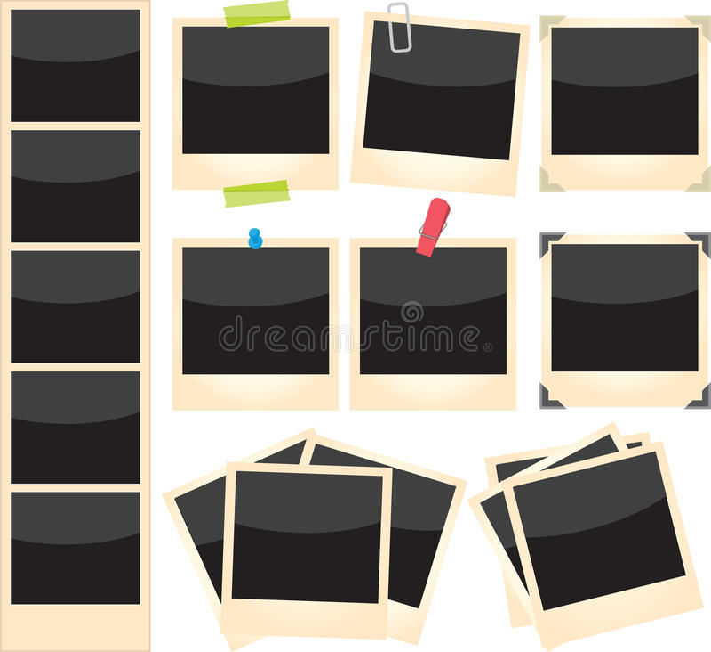 Polaroides fijadas stock de ilustración