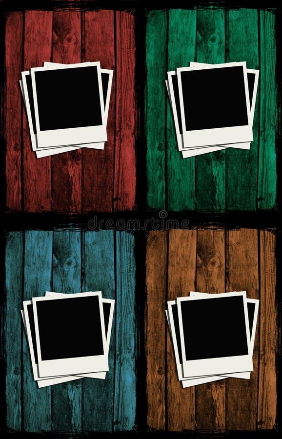 Polaroides sobre las paredes de madera del grunge colorido stock de ilustración