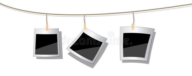 Polaroidfotos angebracht zur Zeichenkette vektor abbildung