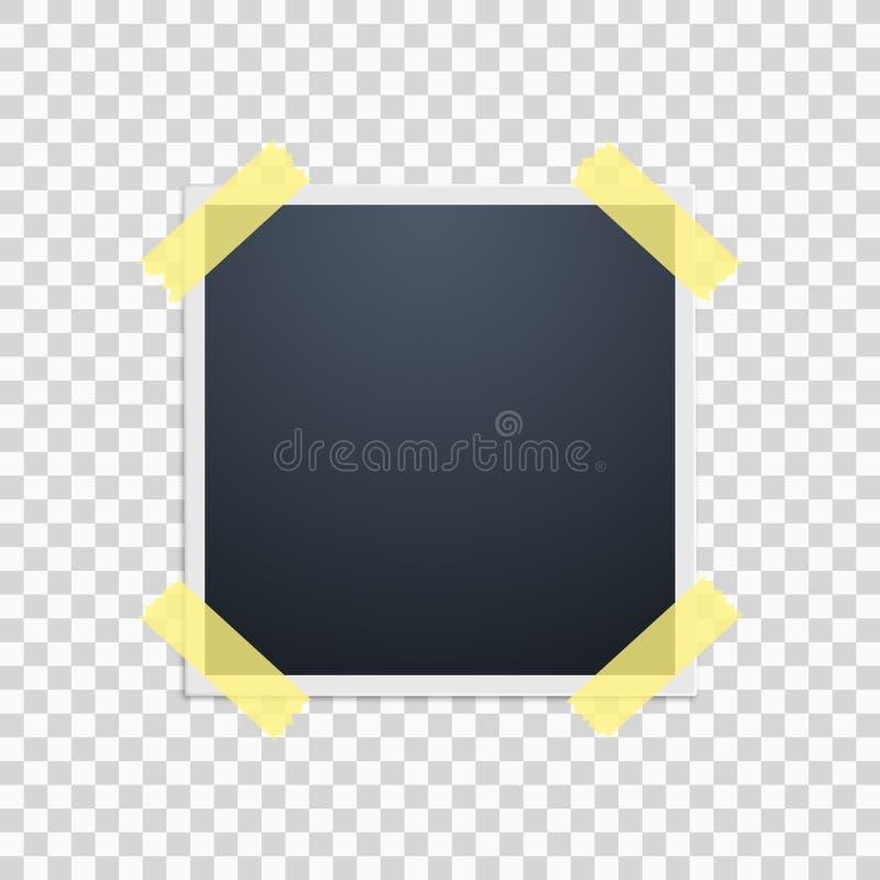 Polaroidkamera på en genomskinlig bakgrund retro ramfoto Gul tejp vektor royaltyfri illustrationer