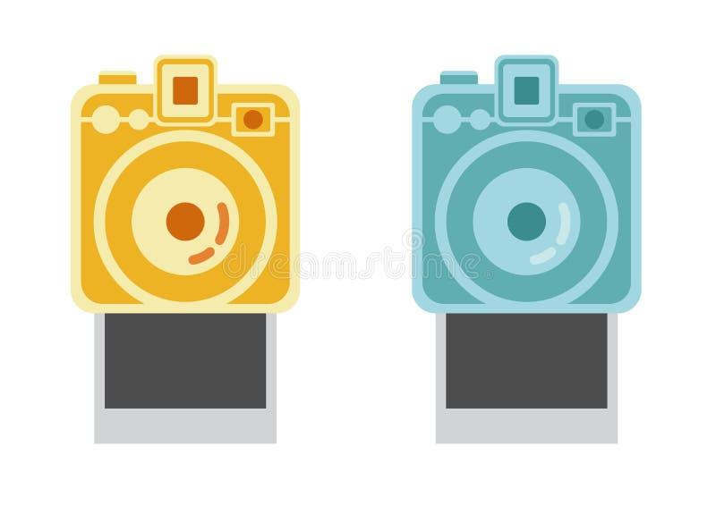 Polaroidkamera und Rahmen, Weinlesekameravektor, polaroidvektor lizenzfreie abbildung