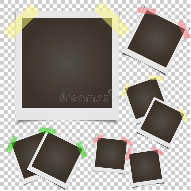 Polaroidrahmen des Leerkartensatzfotos auf transparentem Hintergrund vektor abbildung