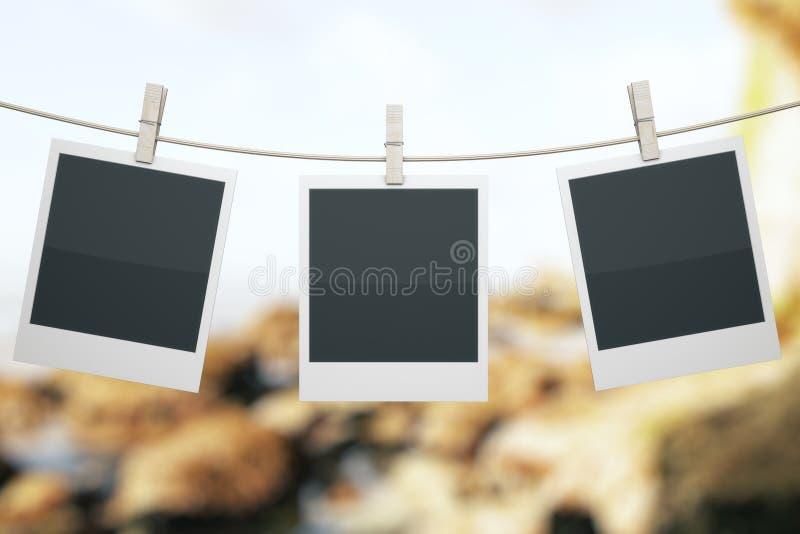 Polaroids στο τοπίο διανυσματική απεικόνιση