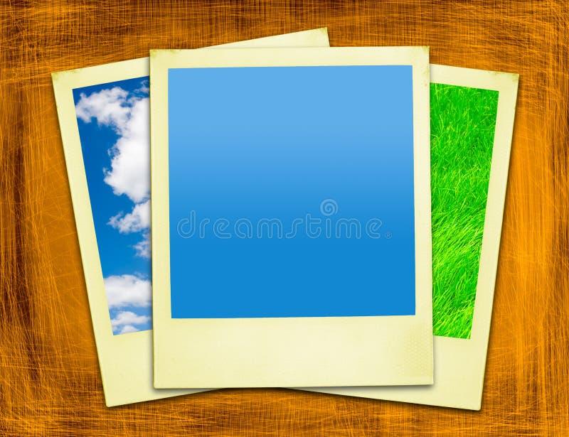 Polaroids amarelos envelhecidos ilustração stock