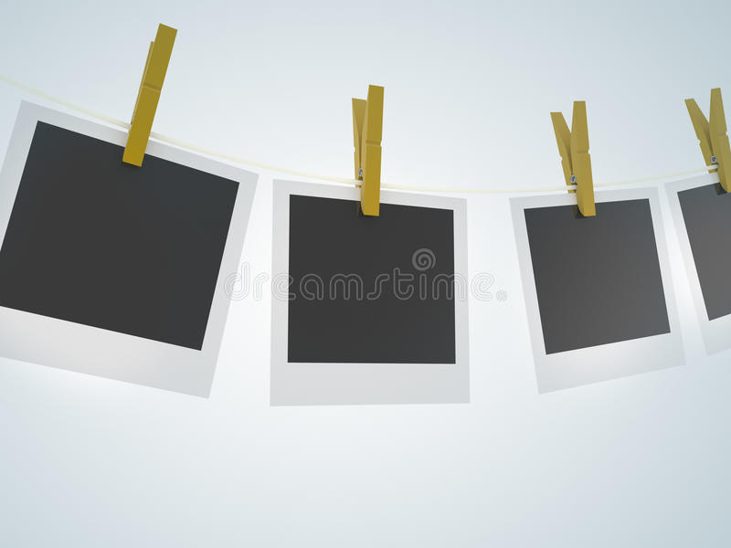 Download Polaroids Clothesline Clothespin Wood Stock Illustration - Illustration: 40403938