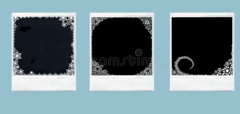 Polaroids dell'ornamento di natale fotografia stock libera da diritti
