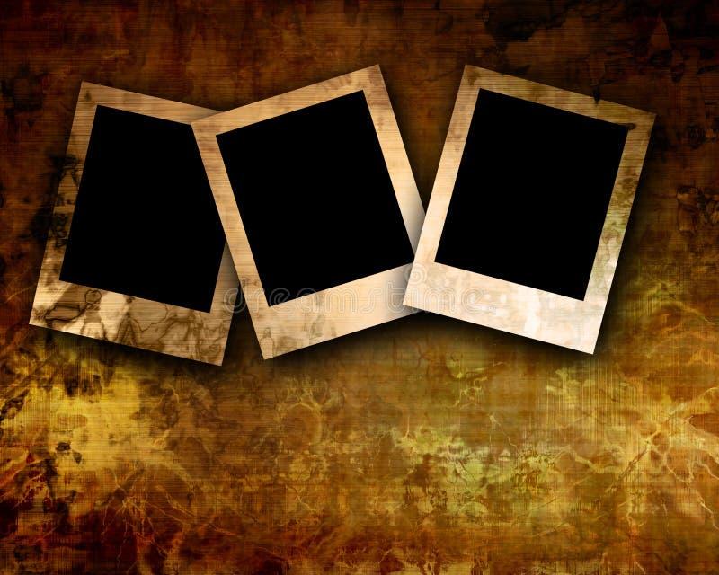 Polaroids no fundo velho ilustração stock