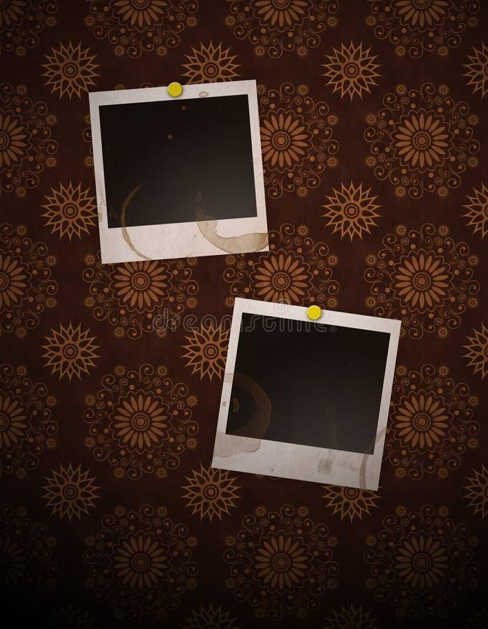 Polaroids sulla retro parete illustrazione vettoriale
