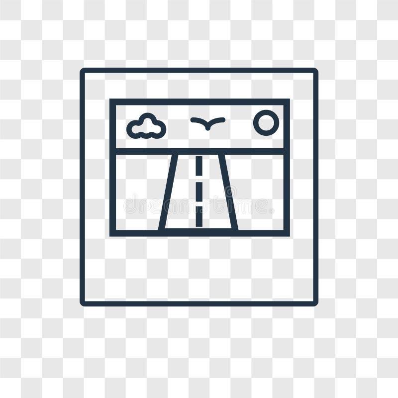 Polaroidu pojęcia wektorowa liniowa ikona odizolowywająca na przejrzystym plecy ilustracji