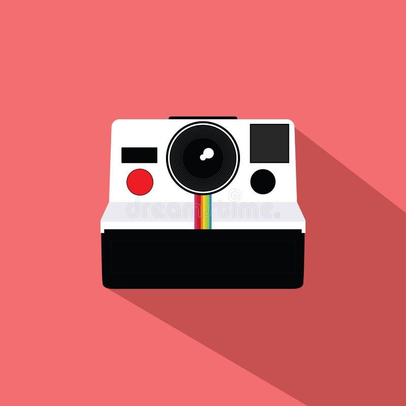 Polaroidu rocznika kamery projekta Płaski wektor ilustracja wektor