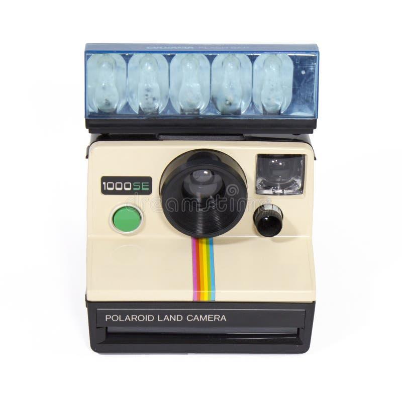 Polaroidu 1000SE rocznika Natychmiastowej kamery bielu tło obraz stock
