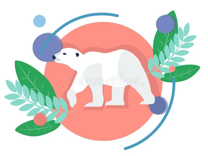 Polart djur, vit bj?rn I minimalist stil Plant isometriskt raster vektor illustrationer
