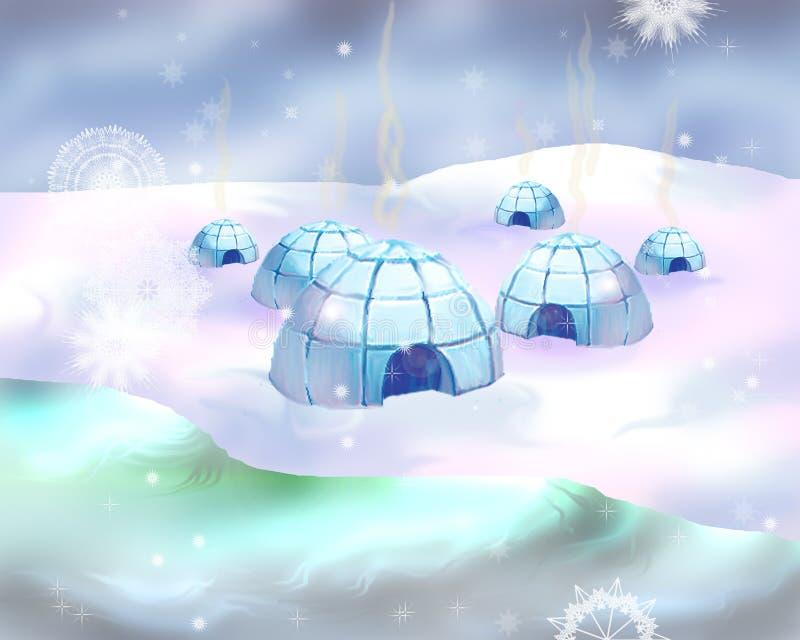 Polart snöig landskap med iglooicehousen royaltyfri illustrationer