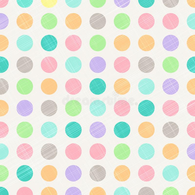 Polca abstracta Dots Circles Pattern Background With Fabr del vintage ilustración del vector