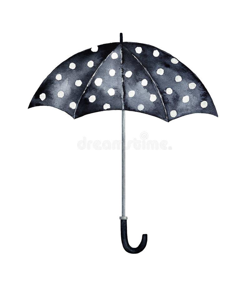 Polca Dot Black e ilustração branca do guarda-chuva ilustração royalty free