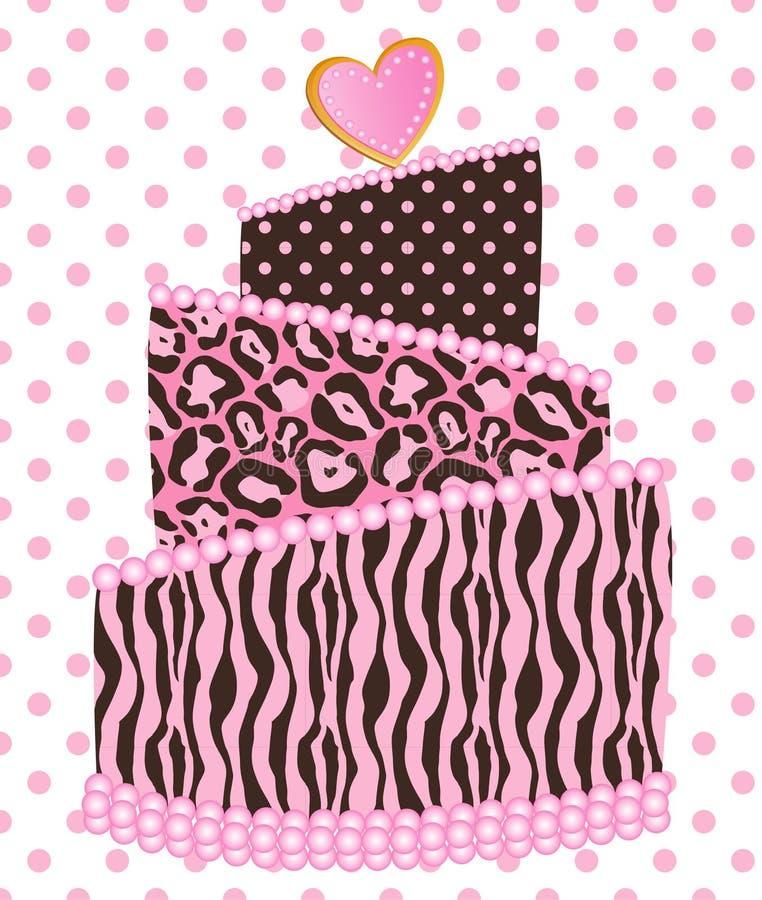 Polca Dot Leopard Zebra Wedding Cake ilustração stock