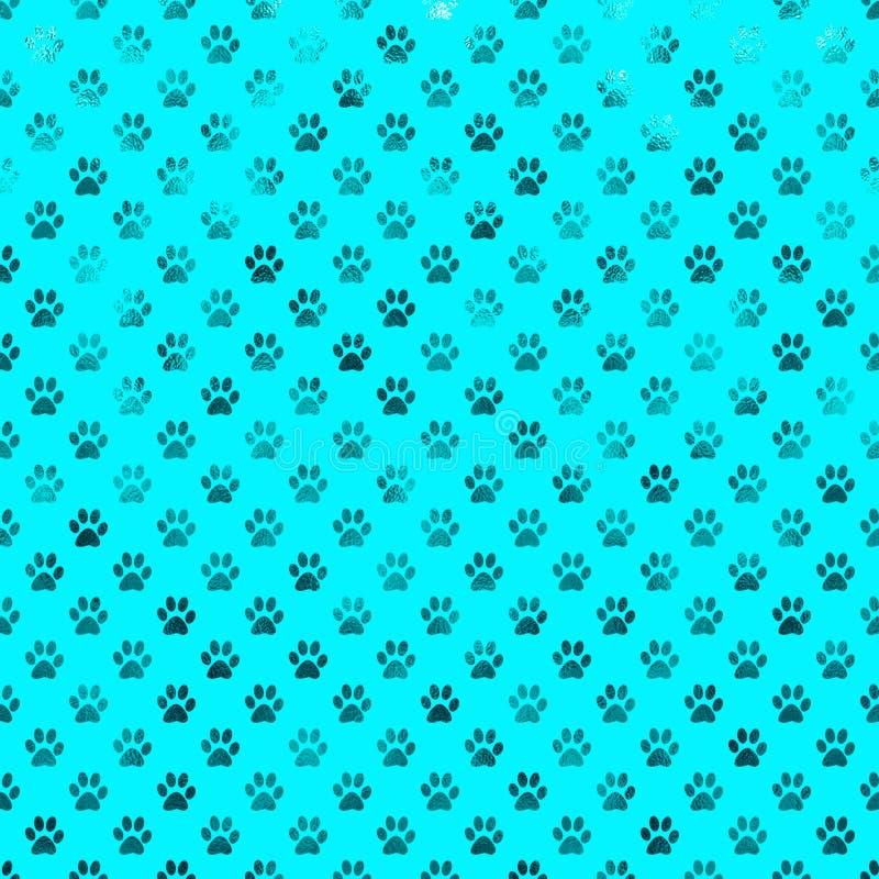 Polca Dot Paws Background da folha de Teal Blue Dog Paw Metallic ilustração stock