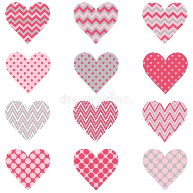 Polca rosada Dot Heart Shape Pattern de Chevron stock de ilustración