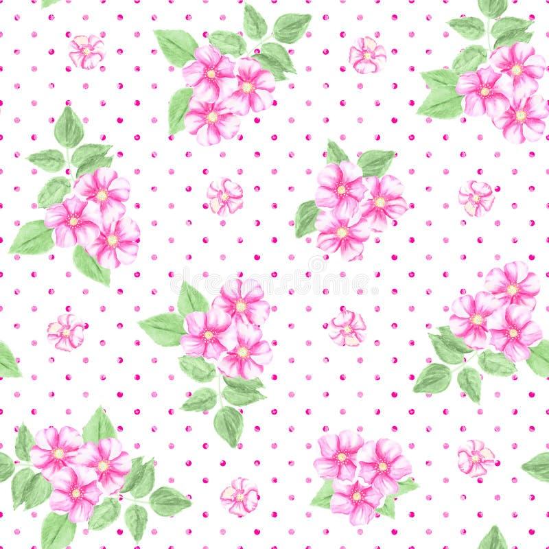 Polca sem emenda Dot Texture com rosa do cão Ponto de polca cor-de-rosa ilustração royalty free