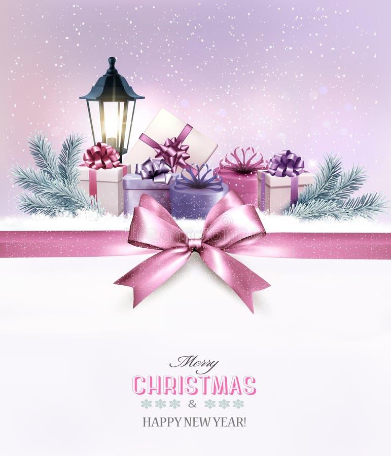 pole świątecznej daru śnieg ilustracji