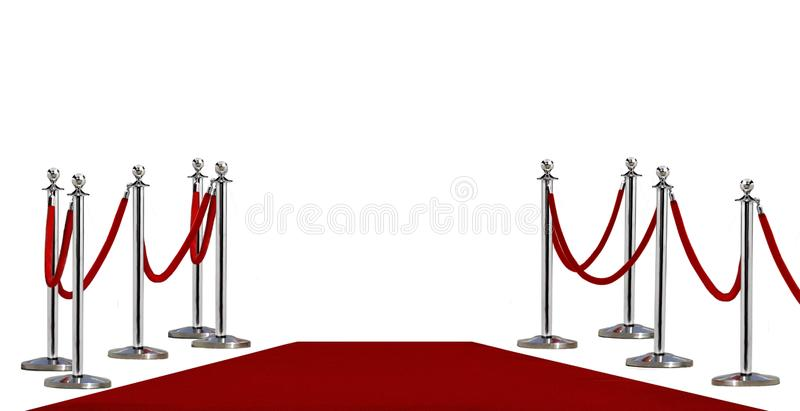 Pole barricade and red carpet. On white background stock image