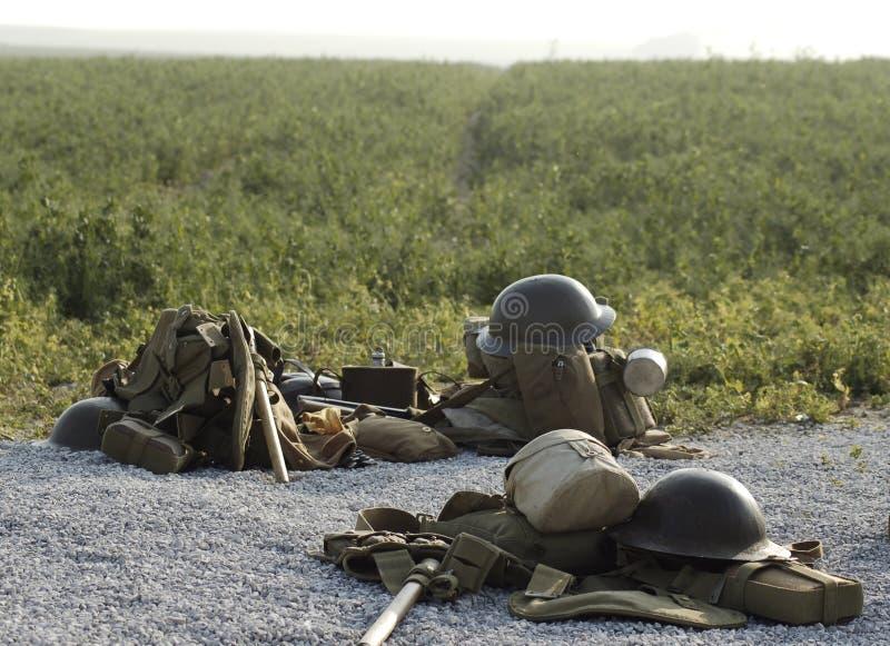pole bitwy zestawów kasków Somme brytyjski wwi fotografia royalty free